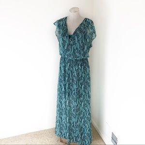 WHBM Green Leaf Print Maxi Dress Size M